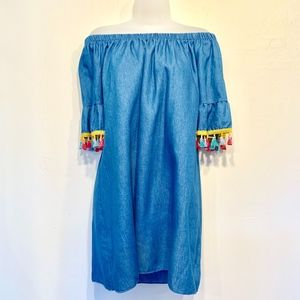 See you Monday Denim Tunic Dress with Tassels